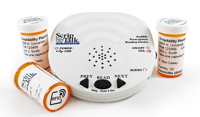 The image shows 3 pill bottles and the ScripTalk reader
